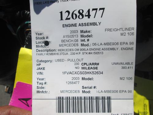 MERCEDES OM906-LA-MBE906 EPA 98 Engine Assembly