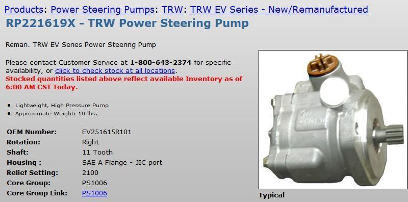 Ross/TRW EV251615R101 Power Steering Pump #11834 in Alamo, Texas