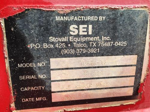 SEI STOVALL EQUIPMENT INC HSTR-16 Equipment (Mounted)