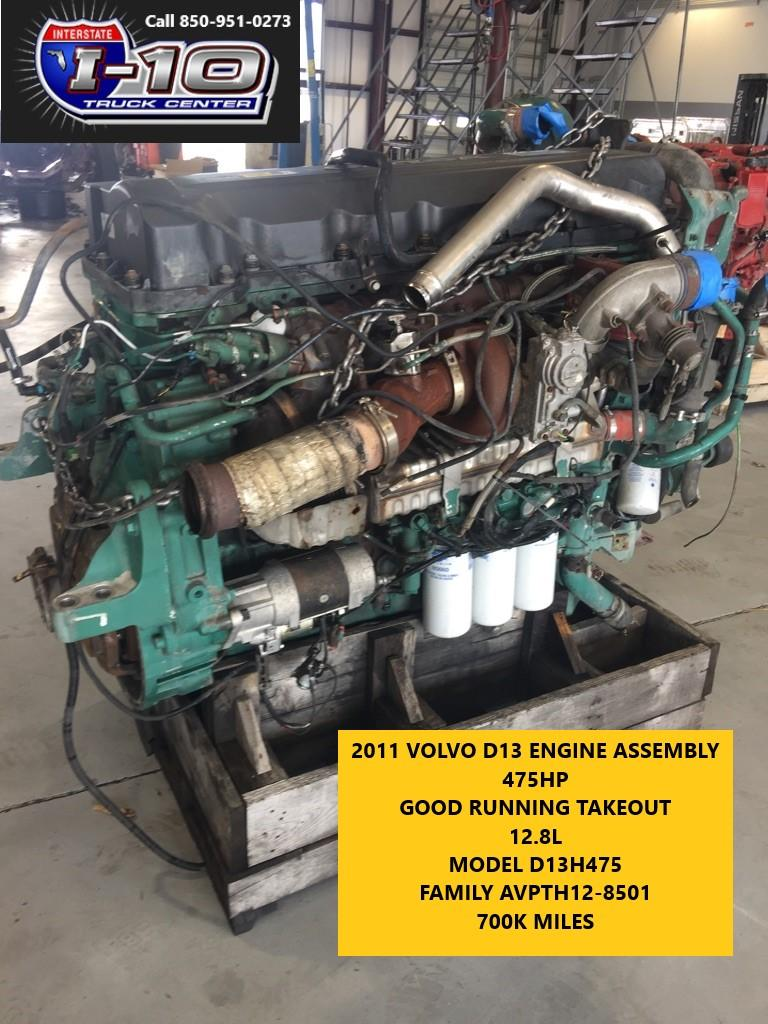 USED 2011 VOLVO VED13 ENGINE ASSEMBLY PART #6587