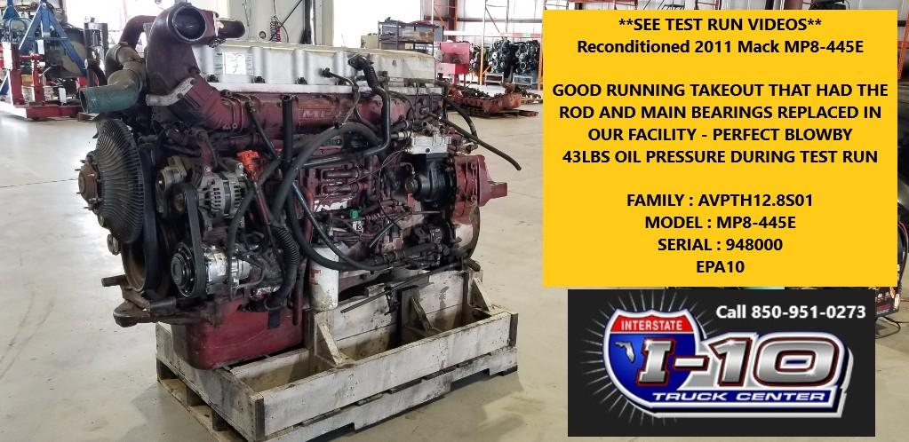USED 2011 MACK MP8 ENGINE ASSEMBLY PART #8806